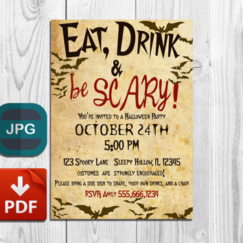 Custom Halloween Party Invitation Printable Personalised Halloween Invite Vintage Style Bats dark brown on aged paper Eat Drink & Be Scary