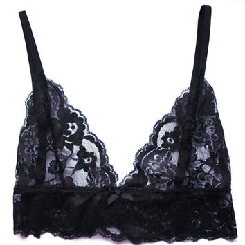Alexa basic black lace bralette ** free International Shipping**