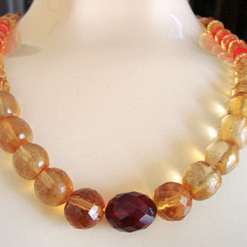 Antique Cherry & Honey Amber Bakelite Bead Necklace / Faceted / Smooth / Glass Bead Accents / 1930s 1940s / Art Deco Vintage Jewelry