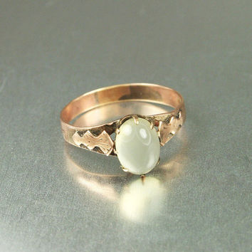 Victorian 14K Rose Gold Moonstone Ring Size 7.5 Antique Jewelry