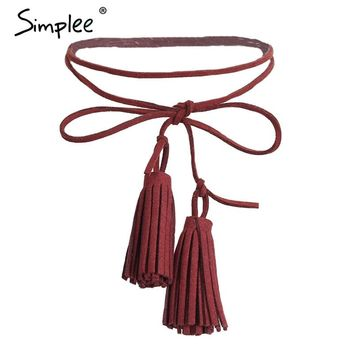Simplee Chic suede tassel bow black choker Women fashion rope accessories casual collar choker vintage long bijoux