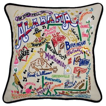 Alabama Hand Embroidered Pillow