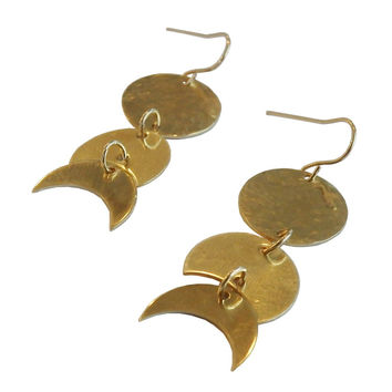 Brass Moon Phase Dangle Earrings