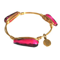 Bourbon & Boweties Pink & Black Marble Tube Stone Bangle