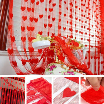 Brand New 100cm*200cm New Fashion Korean Cute Heart Line Tassel String Door Curtain Window Room Divider Curtain Valance XH05013