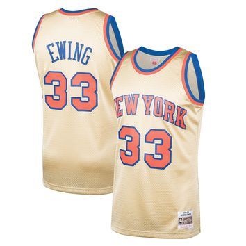 Men's New York Knicks Patrick Ewing Mitchell & Ness Gold 1991-92 Hardwood Classics Gold Series Swingman Jersey - Best Deal Online