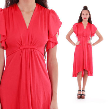 70s Red Flutter Sleeve High Low Hem Fitted Disco Diva Draped Midi Retro Dress 1970s Vintage Clothing Womens Size Small