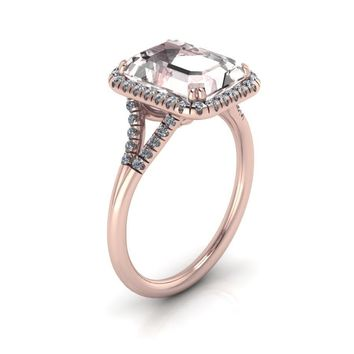 14K Rose Gold Emerald Cut Morganite Engagement Ring Diamond Halo Split Shank