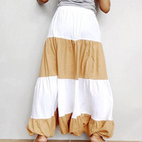 Women Ruffle Two Tone Long Pant, Casual Gypsy,Yoga,Drop Crotch Bohemian,Cotton Blend in Soft Tangerine & White (Pant-RM6).