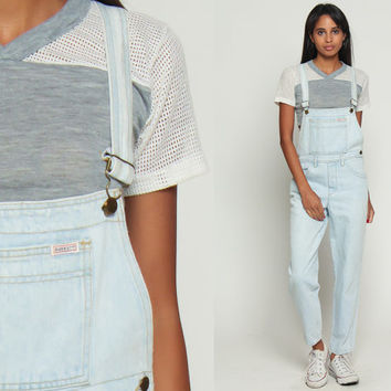 Guess Overalls Women 90s Denim Pants ANKLE LENGTH Bleached Light Blue Jean Tapered 80s Hipster Vintage Dungarees Long Carpenter Small xxs xs