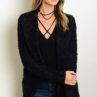 Farewell Fuzzy Black Cardigan