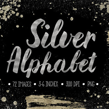 Silver Alphabet Clipart. Silver Letters, Numbers, Symbols. Hand Written Metallic Brush Script. Silver Foil Font for Wedding - 300dpi - PNG -