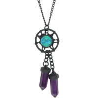 Blackheart Matte Black Raw Stone Dreamcatcher & Purple Dangle Crystal Long Necklace