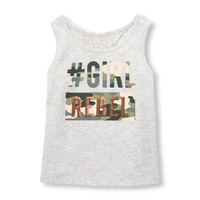 Toddler Girls Sleeveless Sequined 'Hashtag Girl Rebel' Lace-Back Tank Top | The Children's Place