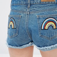 Liquor & Poker Petite High Wasted Denim Shorts With Sequin Rainbow Back Pockets