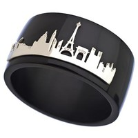Charmed Circle Black and Silver Paris Skyline Wide Bangle - Max & Chloe
