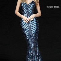 Sherri Hill Sequin Silver Prom Dress