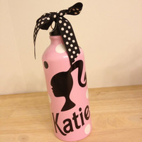 Personalized aluminum water bottle, Barbie design, LOTS OF COLORS, designs available, birthday