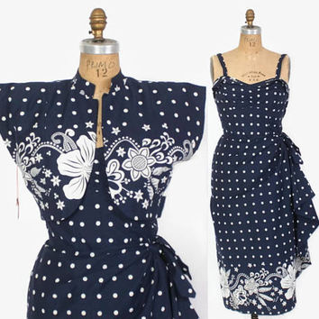 Vintage 50s HAWAIIAN DRESS / 1950s Unworn Navy Blue & White Cotton Sarong Sun Dress and Bolero Set M