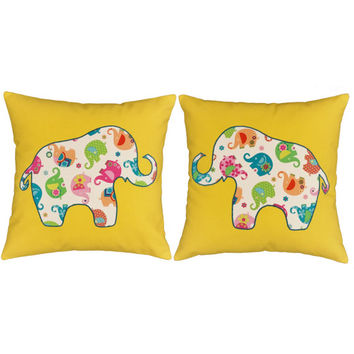 Set of 2 Elephant Appliqued Canvas Pillow Covers with or without Cushions - Available on soft, yellow cotton canvas in 14x14 or 16x16 inches
