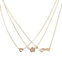 Heart Crown Infinity Short-Strand Necklace 3-Pack