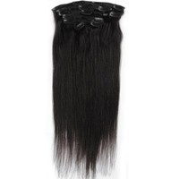 "15"" Emosa 7Pcs 70g 100% Real Silky Soft Remy Clip In Human Hair Extensions #1 Deep Black"