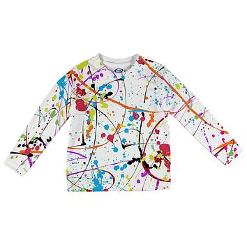 Splatter Paint White All Over Toddler Long Sleeve T Shirt