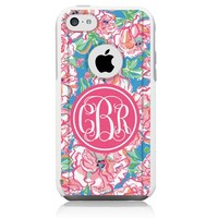 iPhone 5c Case [White] Lilly Pink Monogram [Dual Layer] UnnitoTM *1 Year Warranty* Case Protective [Custom] Commuter Protection Cover [Hybrid]