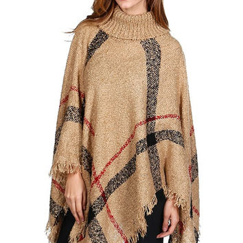 Turtleneck Poncho - Brown