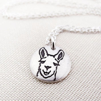 Tiny Llama necklace - silver eco friendly llama pendant reclaimed recycled animal jewelry