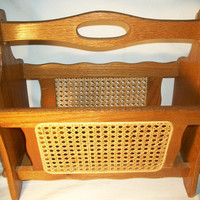 Oak Wood and Cane Magazine Rack, 1980s Home Decor, Fabulous Condition, From TKSPRINGTHINGS Home Sweet Vintage Home Collection