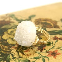 Druzy Ring Mystic White Crystal Snowy Quartz Round AB Coin Gold Wire Wrapped Size 8