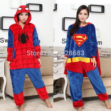 New High Quality Movie Character Halloween Christmas Cosplay Costume Adult  Spiderman Pajamas Batman Superman Onesuit