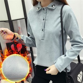 2017 New Thick Shirt Fashion Casual Female Long Sleeve Pearl Print Women Blouse Turn-down Collar Corduroy Tops Button 72177