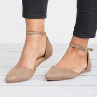 Women Plus Size Flat Shoes Pointed Toe Flock Buckle Strap Female Casual Solid Footwear 2018 Autumn Sexy Comfortable Ladies Flats