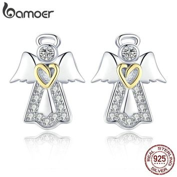 BAMOER Hot Sale Genuine 925 Sterling Silver Guardian Angel Exquisite Stud Earrings for Women Fashion Silver Jewelry Gift SCE476