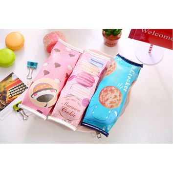 A41 1X Kawaii Creative PU Macaron Cookie Pen Bag Case Holder Storage Pencil School Supplies Cosmetic Makeup Travel