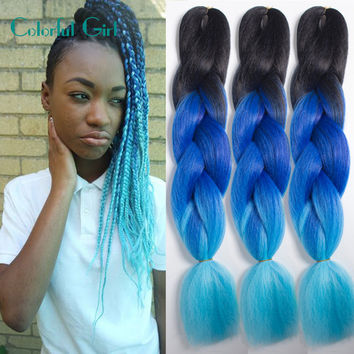 Cheap Crochet Hair Extensions Twists 24Inch Ombre Expression Braiding Hair 100g/pc Crochet Braid Hair Box Braids Free Shipping