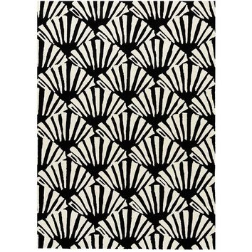 Scallop Black Outdoor Rug