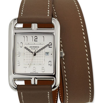 Hermès Large Cape Cod GM Watch with Taupe Leather Strap