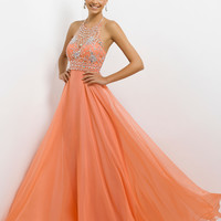Jeweled Halter Top Neckline A-Line Skirt Prom Dress By Blush 9723