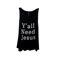 """y'all need jesus"" Tank Top, Black (size Large)"