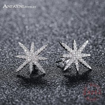 ANFASNI Delicate 100% 925 Sterling Silver Fashion Sparkling Stars Stud Earrings With Clear CZ Women Wedding Luxury Jewelry
