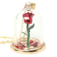 Disney Beauty And The Beast Rose Glass Pendant