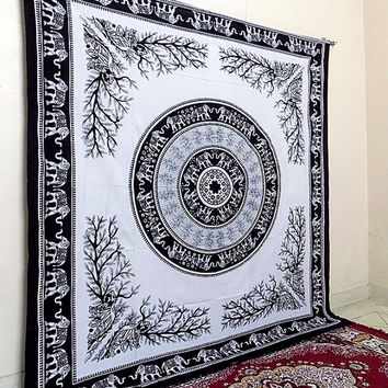 Black and White Mandala Tapestry, Hippie Bohemian Wall Hanging Tapestries, Indian Bedspread Bedding Throw, Ethnic Elephant Home Decor