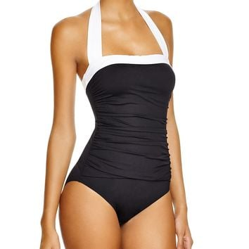 RALPH LAUREN Bel Aire Maillot One Piece Swimsuit Black/White $90