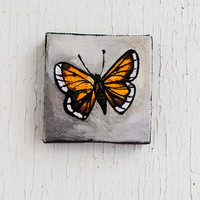 Butterfly Painting.  Hobomok Skipper, Tiny Art.  Original Oil Painting.  Insect. Nature.  Spring.