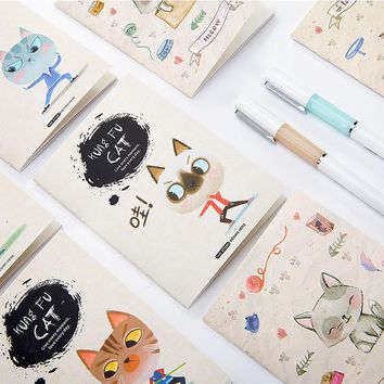 1pc Kawaii Cat Print Cover Color Page Mini Notebook Diary Notepad Travel Book Office And School Supplies