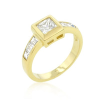 Simple Golden Square Bezel Cubic Zirconia Ring, size : 08