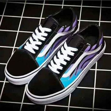 DCCKIJG Vans Classics Flame Old Skool Sneaker boost shoes (black-purple-blue) H-JJ-MYZDL